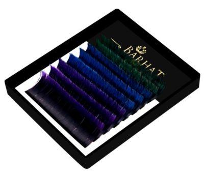 Ресницы Barhat двухтоновые Mix color три цвета мини планшет 8 лент
